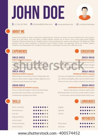 Simplistic yet colorful modern resume cv  curriculum vitae template design - stock vector