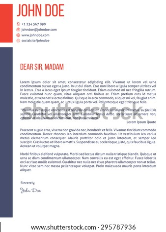 Simplistic yet modern cover letter curriculum vitae cv resume template design - stock vector