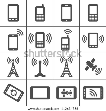 Simplus icons series. Mobile devices and wireless technology - stock vector