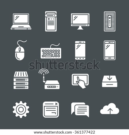 Simplus icons series. Network and mobile devices. Network connections - stock vector
