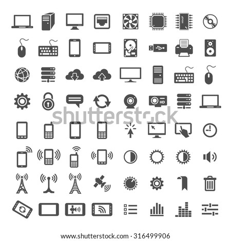 Simplus icons series. Network and mobile devices. 64 universal vector icons - stock vector