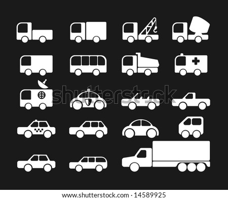 Simply car icons - stock vector
