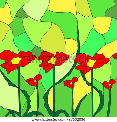 Simulated stained glass depicting flowers. - stock vector
