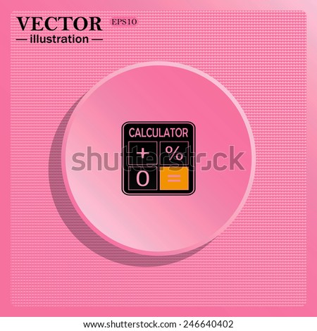 Simulating the structure of plastic. On a pink background pink circle with a shadow.  calculator, vector illustration, EPS 10 - stock vector