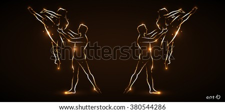Simultaneous performance of two pairs of ballet. Two male dancers partner support for waist while performing a jump. Two ballet dancers floating in the air. Silhouette dancers with light outline.Eps10 - stock vector