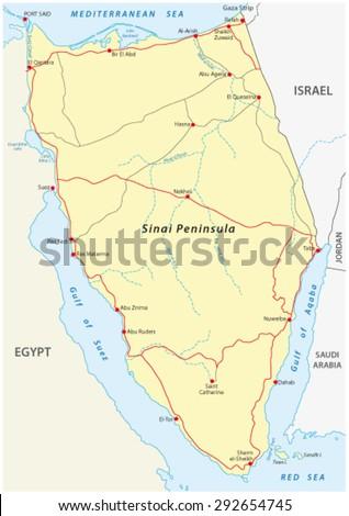 Sinai Peninsula Road Map Stock Vector (Royalty Free) 292654745 ...