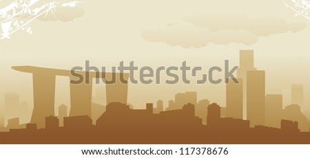 singapore abstract skyline - stock vector