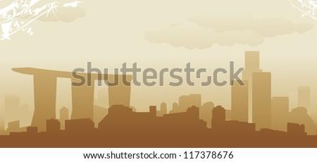 singapore abstract skyline - stock vector