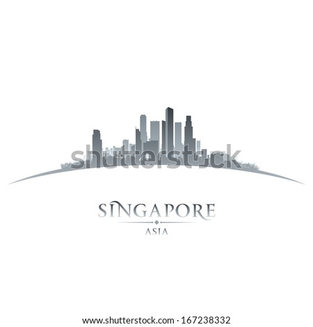 Singapore Asia city skyline silhouette. Vector illustration - stock vector