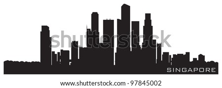 Singapore, Asia skyline. Detailed vector silhouette - stock vector