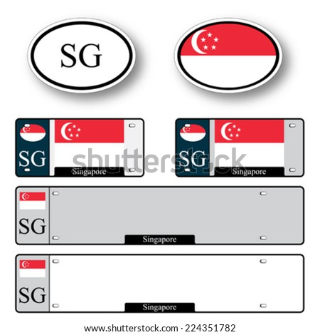 singapore auto set against white background, abstract vector art illustration, image contains transparency - stock vector