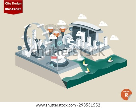 Singapore city design in perspective,cute design of Singapore consist of merlion,Singapore Flyer,Marina Bay Sands,Supertrees   - stock vector