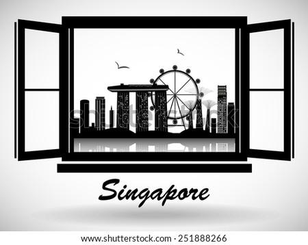Singapore City Skyline Design - stock vector