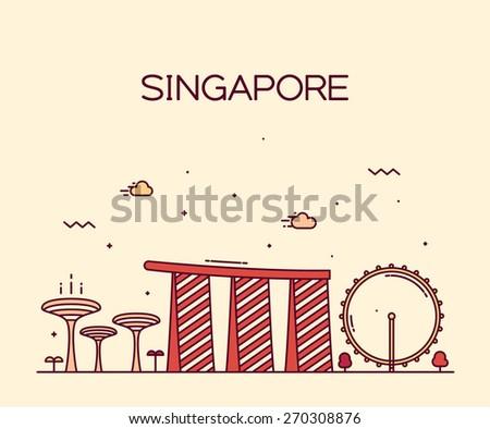Singapore City skyline detailed silhouette. Trendy vector illustration, line art style. - stock vector