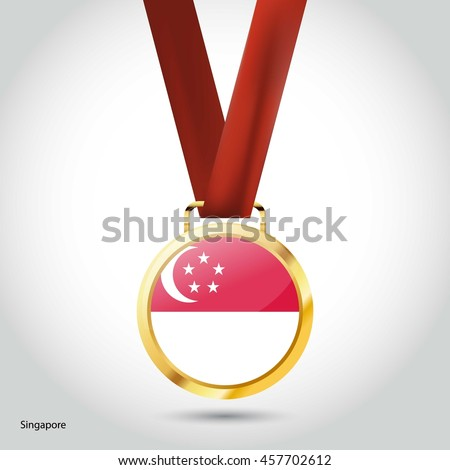 Singapore Flag in gold Medal. Vector Illustration. RIO Olympic Game gold Medal. Vector Illustration