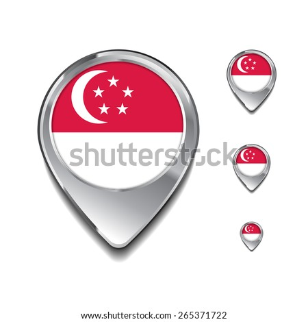 Singapore flag map pointer. 3d Map Pointer with flag glossy button style on gray background - stock vector