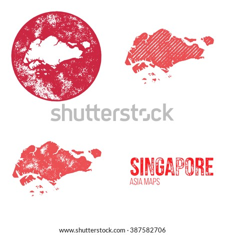 Singapore Grunge Retro Maps - Asia - Three silhouettes Singapore maps with different unique letterpress vector textures - Infographic and geography resource