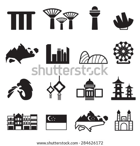 Singapore icons set,Vector - stock vector