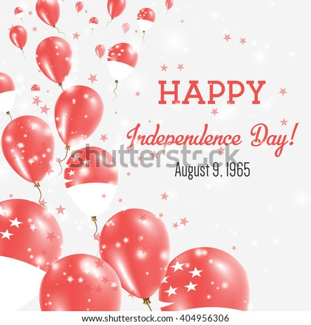 Singapore Independence Day Greeting Card. Flying Balloons in Singapore National Colors. Happy Independence Day Singapore Vector Illustration. - stock vector