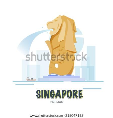Singapore landmark. asean set - vector illustration - stock vector