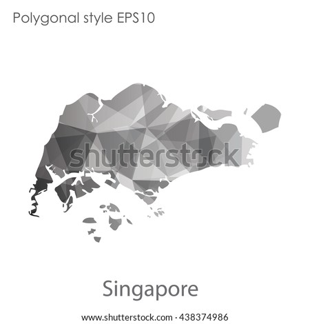 Singapore map in geometric polygonal style.Abstract triangle,modern design background.Vector illustration EPS10 - stock vector