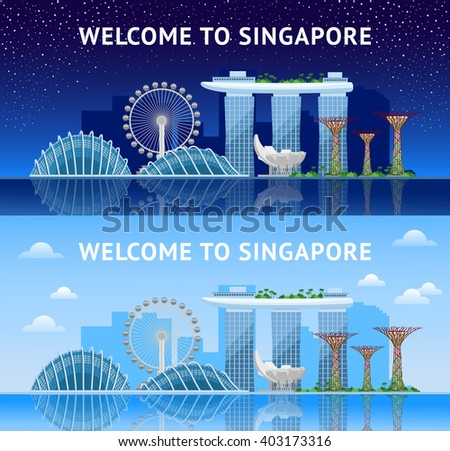 Singapore. Panoramic view of the city at night and day. Singapore city skyline. Vector illustration.  - stock vector