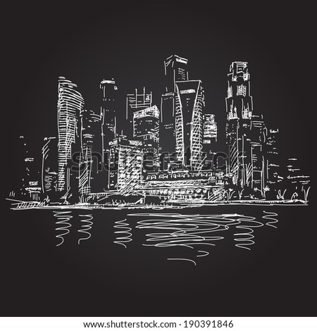 Singapore skyline at night Vector sketch - stock vector