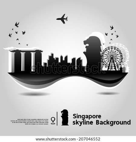 Singapore skyline background,vector Illustration - stock vector