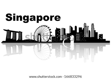 Singapore skyline - black and white vector illustration - stock vector