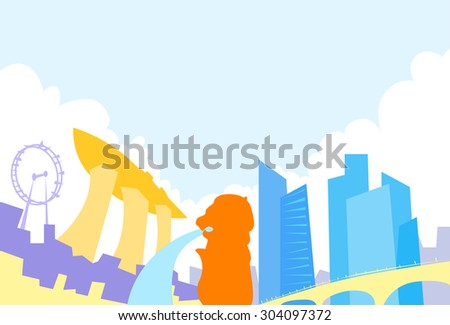 Singapore Skyline City Skyscraper Silhouette Flat Colorful Vector Illustration - stock vector