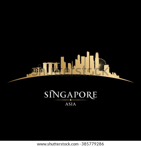 Singapore skyline Detailed vector silhouette