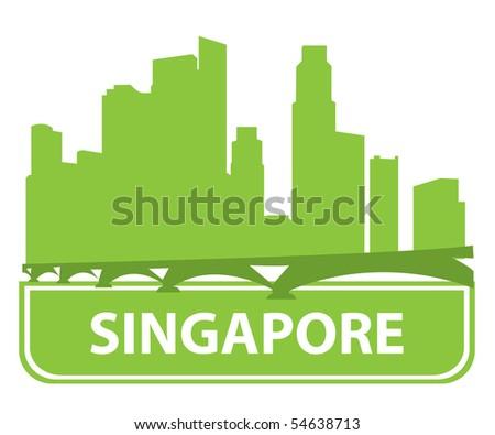 Singapore skyline. Vector illustration - stock vector