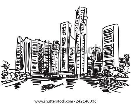 Singapore skyline. View from river side. Fast hand drawn sketch - stock vector