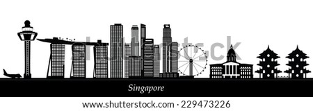 singapore skyline with temple in chinese garden - stock vector
