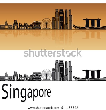 Singapore V2 skyline in orange background in editable vector file