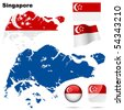 Singapore vector set. Detailed country shape with region borders, flags and icons isolated on white background. - stock photo