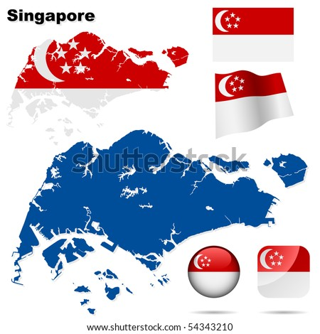 Singapore vector set. Detailed country shape with region borders, flags and icons isolated on white background. - stock vector