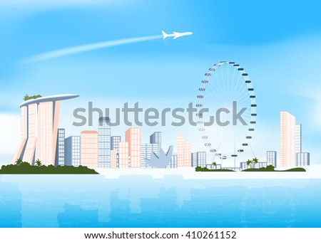 Singapure skyline in day and  airplane in sky, vector illustration - stock vector