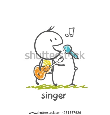 singer plays guitar and sings in a microphone illustration - stock vector