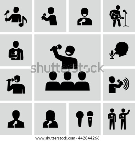 Singer With Microphone Vector Icons  - stock vector
