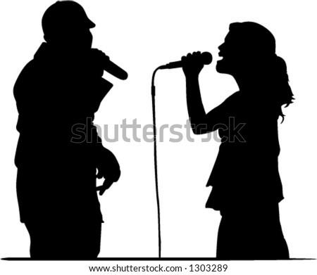 singers doing duet - stock vector