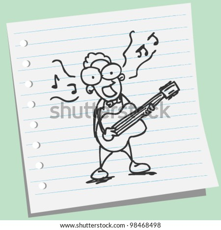 singers play guitar doodle illustration