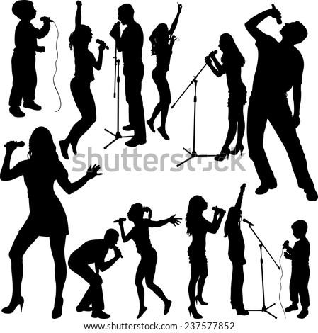 singers silhouette set vector - stock vector