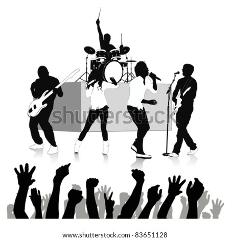 Singers silhouette set .Vector illustration - stock vector