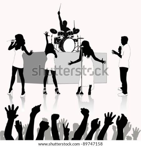 Singers silhouette  .Vector illustration - stock vector