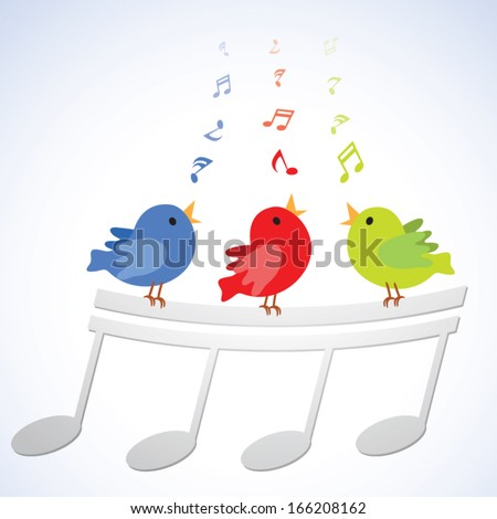 Singing birds. Vector illustration of three little birds singing happily with musical notes. - stock vector