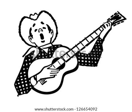 singing cowboy retro clipart illustration stock vector 126654092 rh shutterstock com retro clipart birthday greetings retro clipart birthday greetings