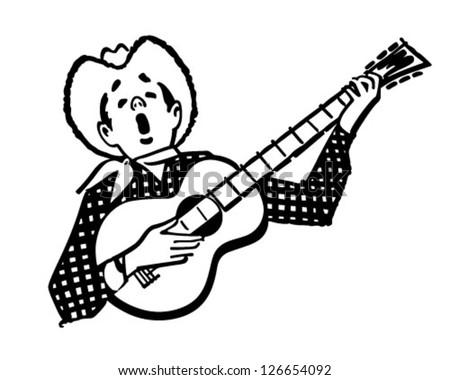 Singing Cowboy - Retro Clipart Illustration - stock vector
