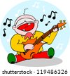 Singing guitarist, no gradients, easy form to be added to a larger composition. - stock vector