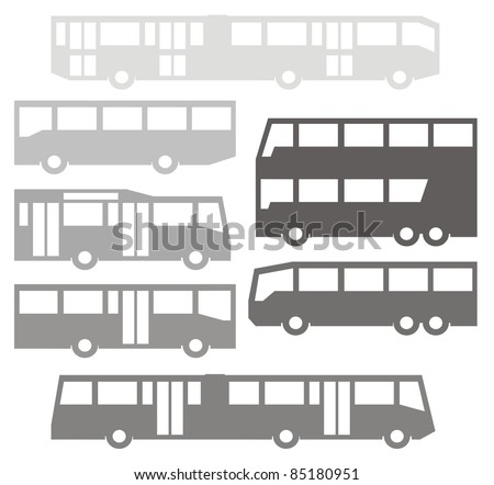 Single- and double-deck buses - Automotive vector silhouette illustration set in gray - stock vector